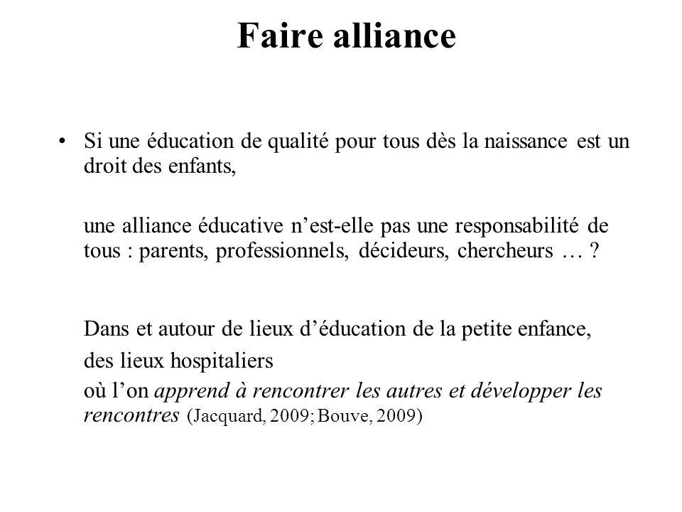 Faire alliance Si une éducation de qualité pour tous dès la naissance est un droit des enfants,