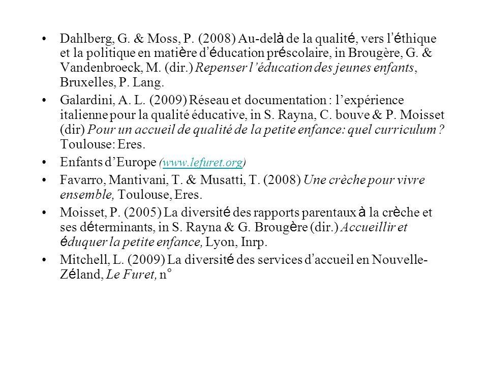 Dahlberg, G. & Moss, P. (2008) Au-delà de la qualité, vers l'éthique et la politique en matière d'éducation préscolaire, in Brougère, G. & Vandenbroeck, M. (dir.) Repenser l'éducation des jeunes enfants, Bruxelles, P. Lang.