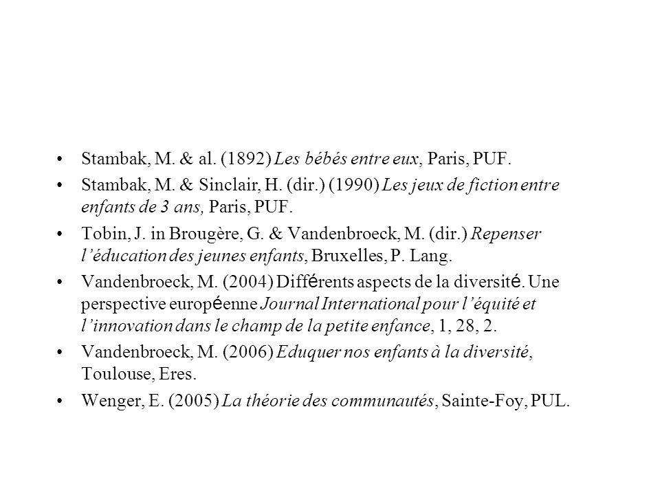 Stambak, M. & al. (1892) Les bébés entre eux, Paris, PUF.