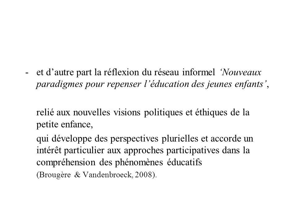 et d'autre part la réflexion du réseau informel 'Nouveaux paradigmes pour repenser l'éducation des jeunes enfants',