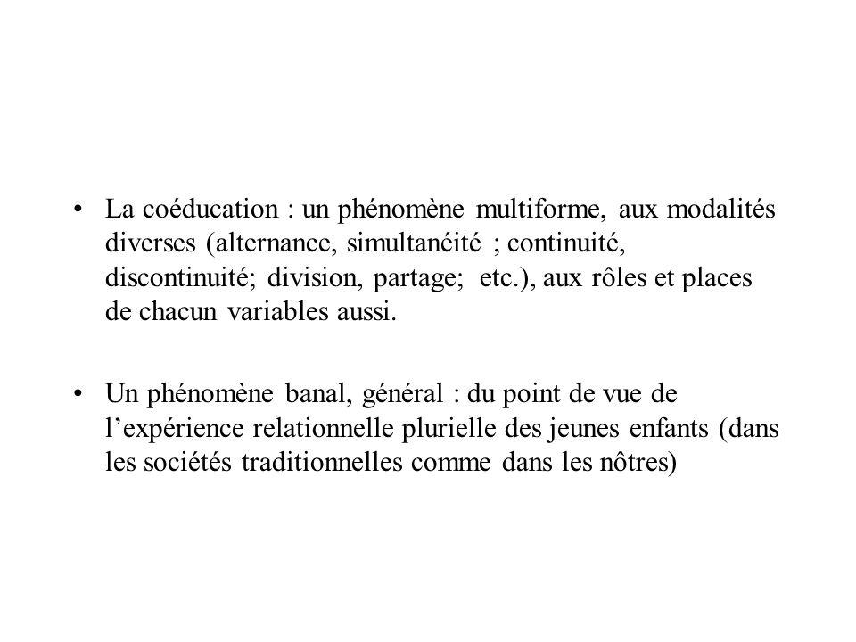 La coéducation : un phénomène multiforme, aux modalités diverses (alternance, simultanéité ; continuité, discontinuité; division, partage; etc.), aux rôles et places de chacun variables aussi.