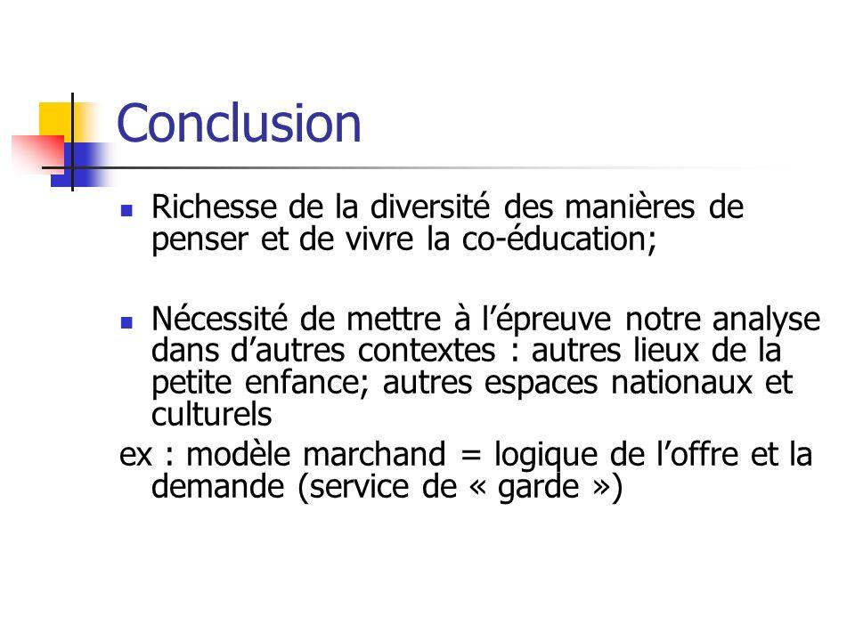 Conclusion Richesse de la diversité des manières de penser et de vivre la co-éducation;