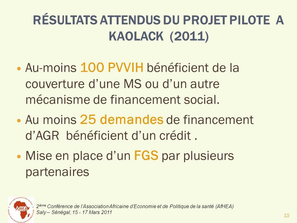 RÉSULTATS ATTENDUS DU PROJET PILOTE A KAOLACK (2011)