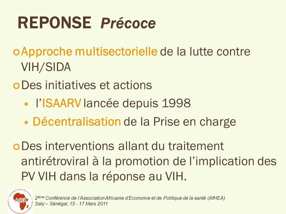 REPONSE Précoce Approche multisectorielle de la lutte contre VIH/SIDA