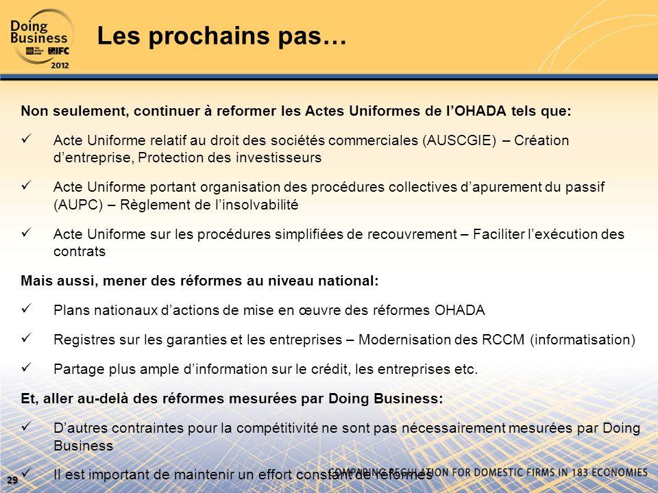 Les prochains pas… Non seulement, continuer à reformer les Actes Uniformes de l'OHADA tels que: