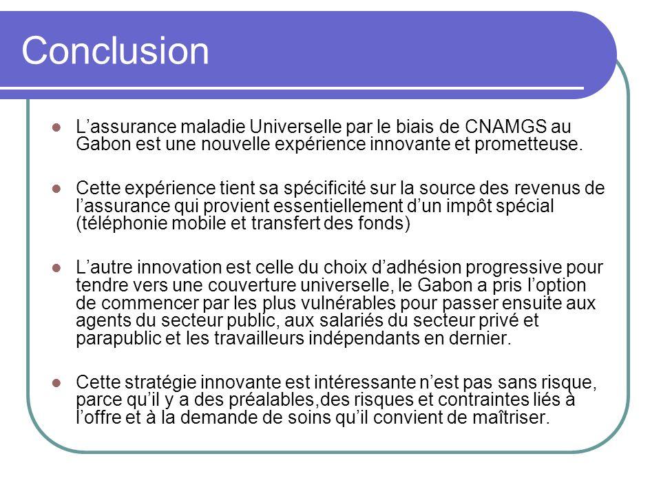 Conclusion L'assurance maladie Universelle par le biais de CNAMGS au Gabon est une nouvelle expérience innovante et prometteuse.