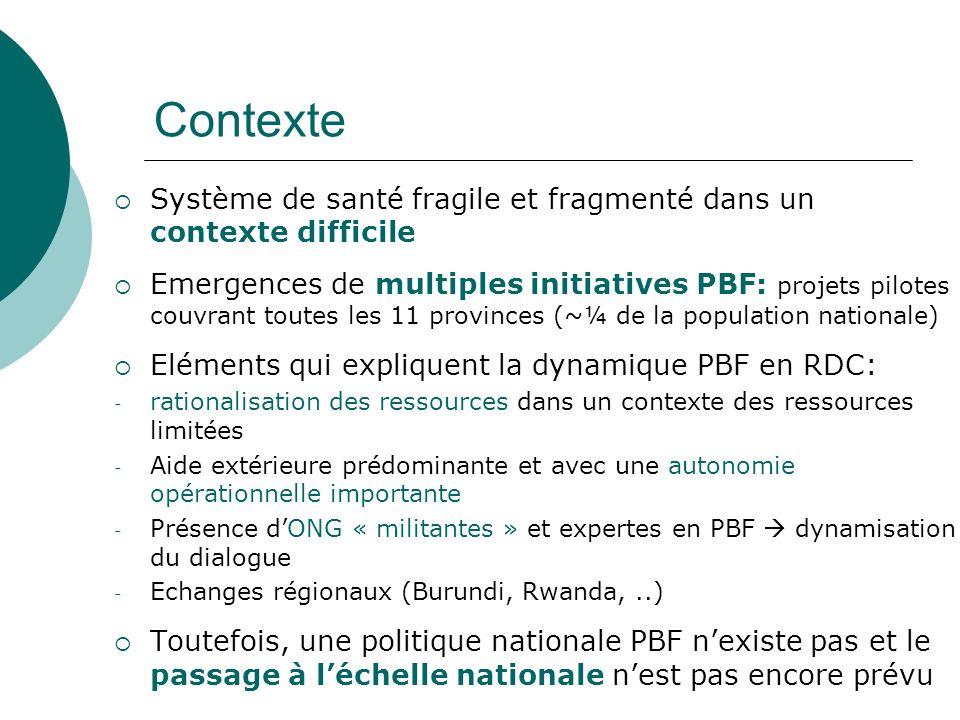 Contexte Système de santé fragile et fragmenté dans un contexte difficile.
