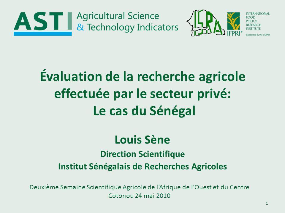 Direction Scientifique Institut Sénégalais de Recherches Agricoles