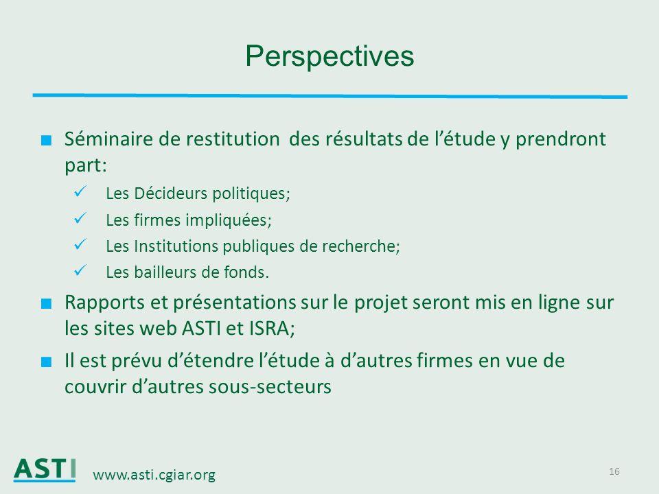 Perspectives Séminaire de restitution des résultats de l'étude y prendront part: Les Décideurs politiques;
