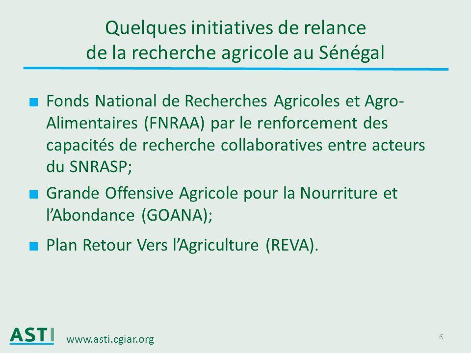 Quelques initiatives de relance de la recherche agricole au Sénégal