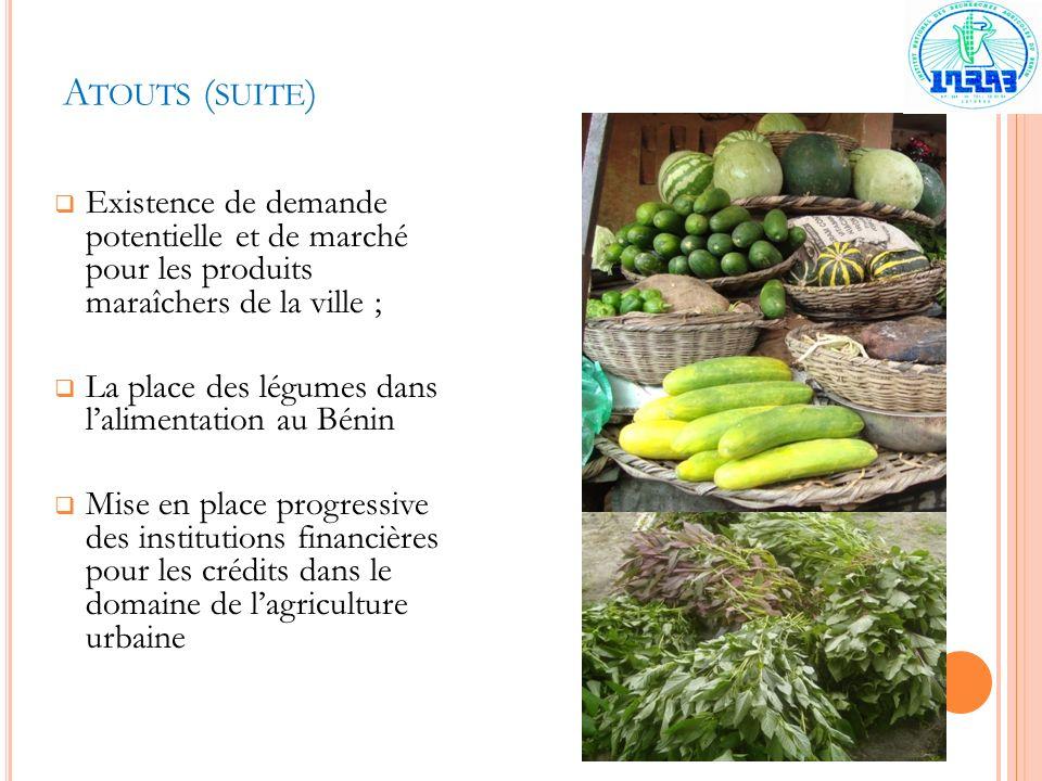 Atouts (suite) Existence de demande potentielle et de marché pour les produits maraîchers de la ville ;