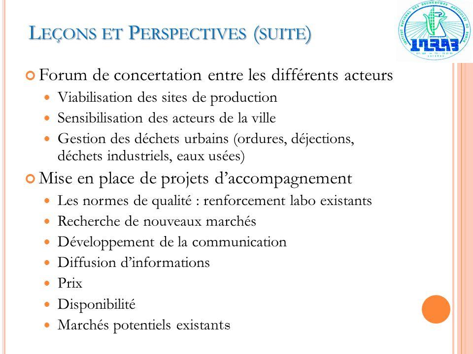 Leçons et Perspectives (suite)