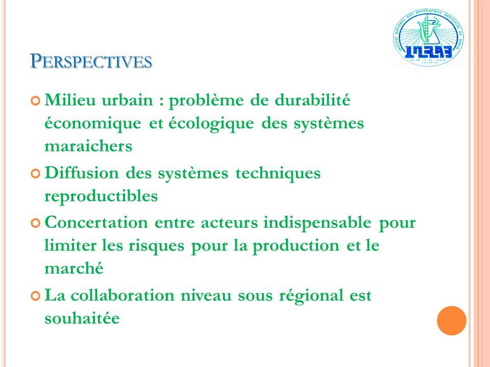 Perspectives Milieu urbain : problème de durabilité économique et écologique des systèmes maraichers.