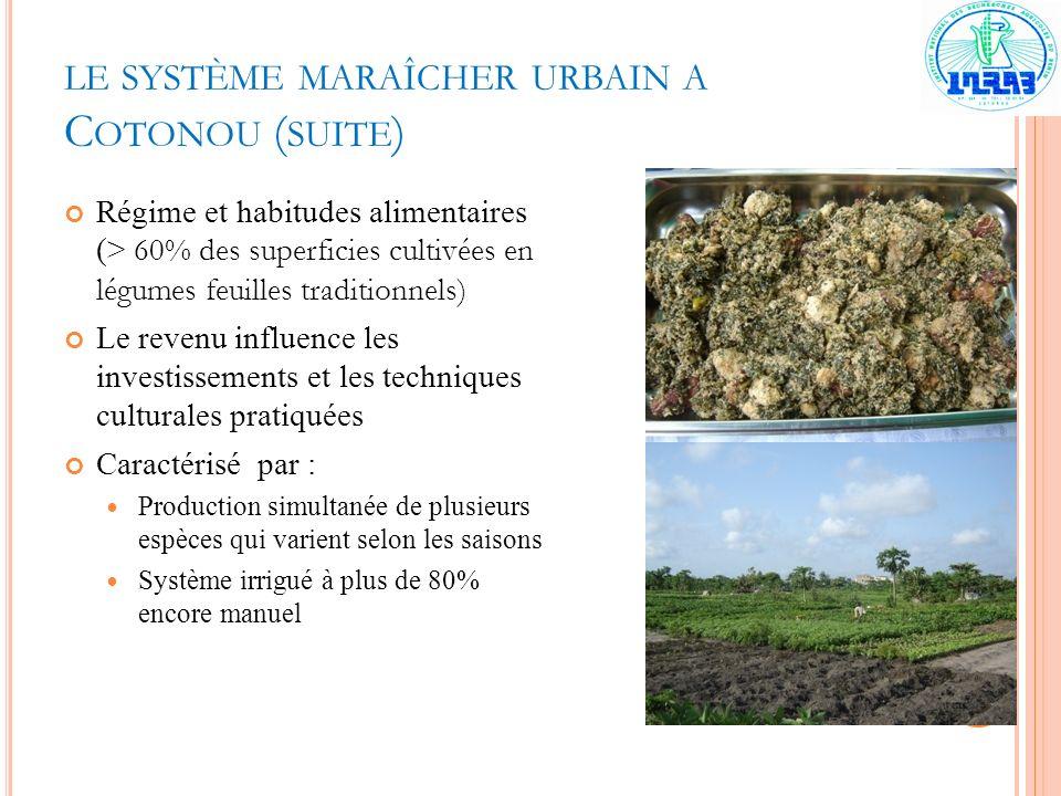 le système maraîcher urbain a Cotonou (suite)