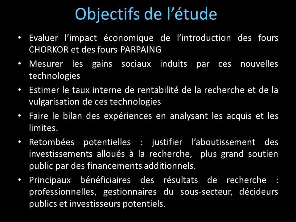 Objectifs de l'étudeEvaluer l'impact économique de l'introduction des fours CHORKOR et des fours PARPAING.