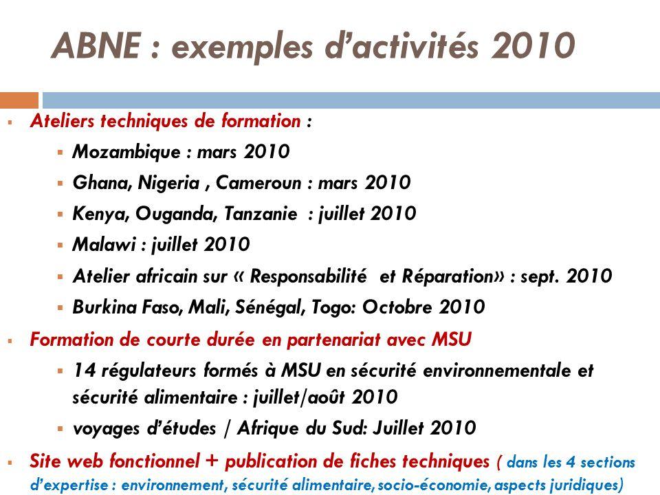ABNE : exemples d'activités 2010