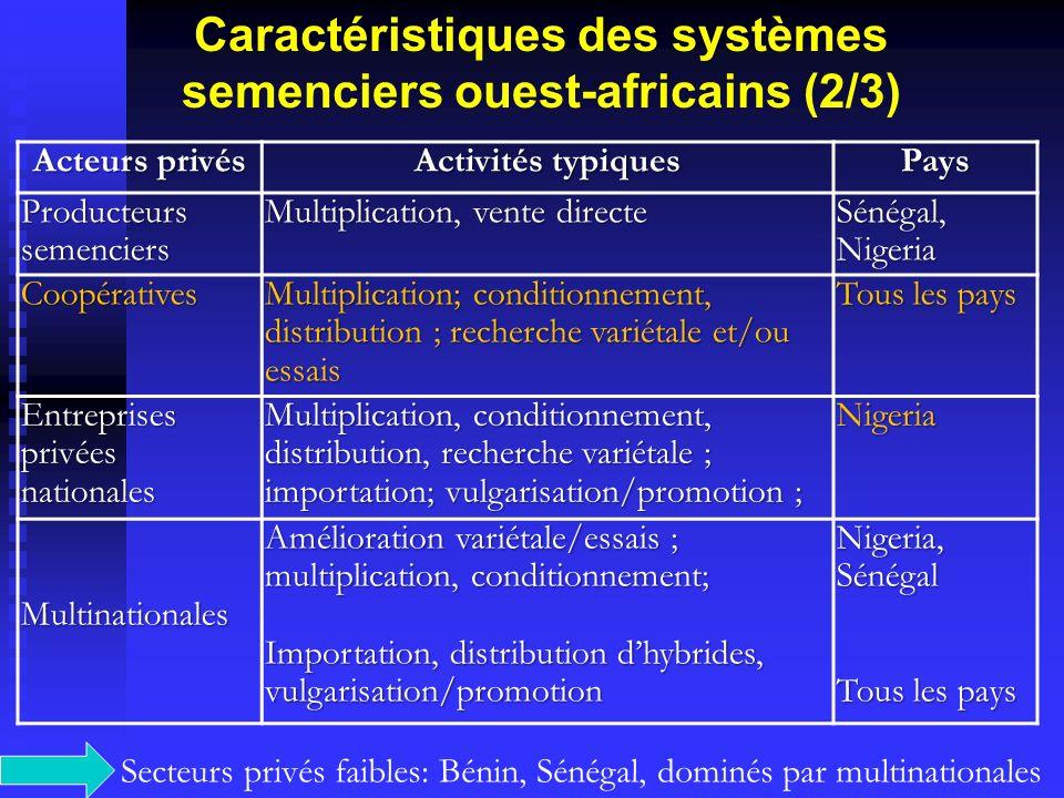 Caractéristiques des systèmes semenciers ouest-africains (2/3)