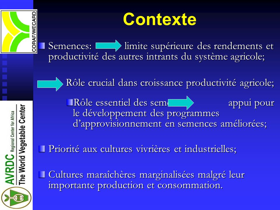 ContexteSemences: limite supérieure des rendements et productivité des autres intrants du système agricole;