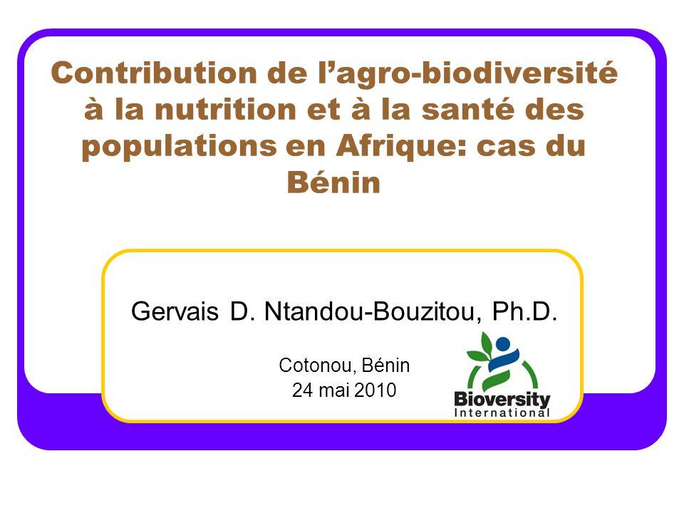 Gervais D. Ntandou-Bouzitou, Ph.D. Cotonou, Bénin 24 mai 2010