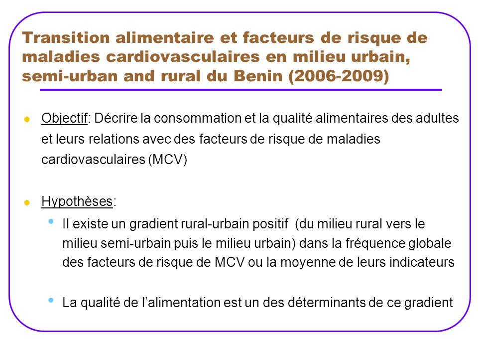 Transition alimentaire et facteurs de risque de maladies cardiovasculaires en milieu urbain, semi-urban and rural du Benin (2006-2009)