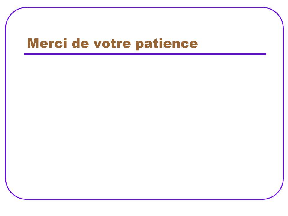 Merci de votre patience