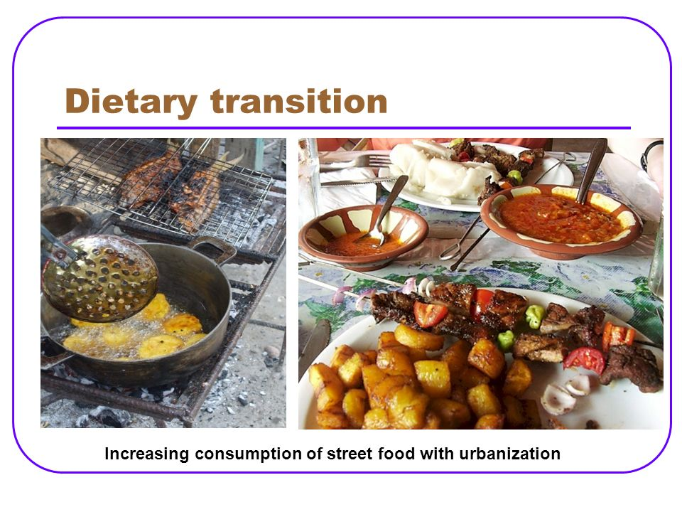 Dietary transition Increasing consumption of street food with urbanization