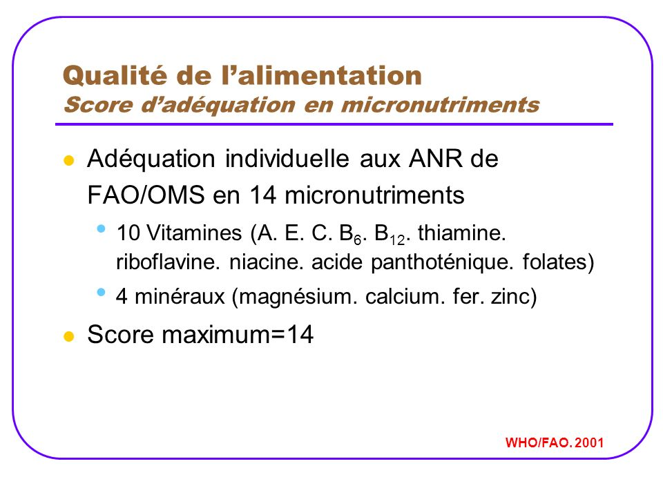 Qualité de l'alimentation Score d'adéquation en micronutriments