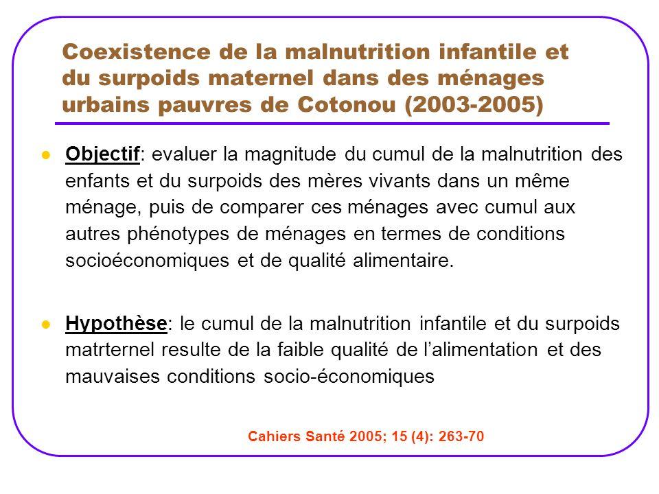 Coexistence de la malnutrition infantile et du surpoids maternel dans des ménages urbains pauvres de Cotonou (2003-2005)