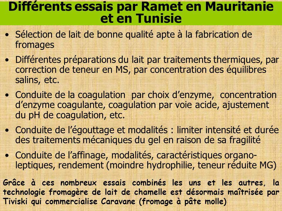 Différents essais par Ramet en Mauritanie et en Tunisie