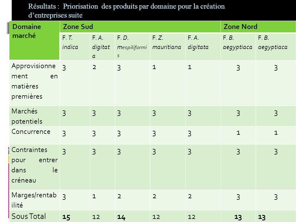 Résultats : Priorisation des produits par domaine pour la création d'entreprises suite