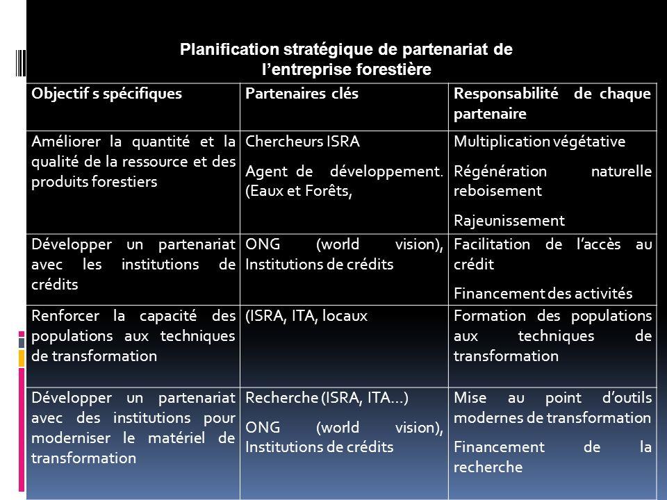 Planification stratégique de partenariat de l'entreprise forestière