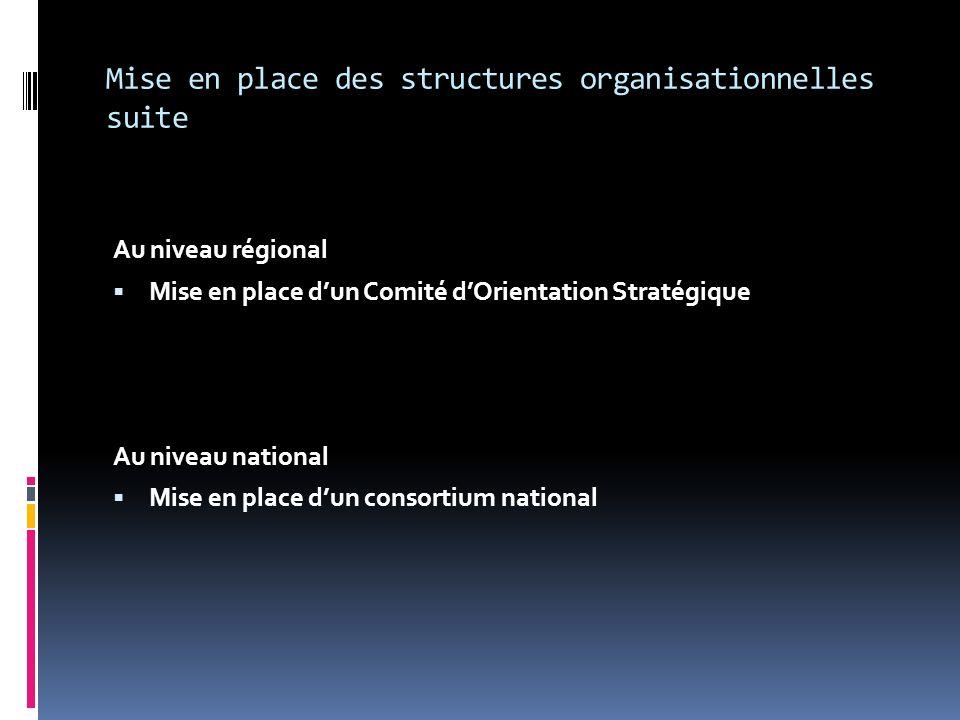 Mise en place des structures organisationnelles suite