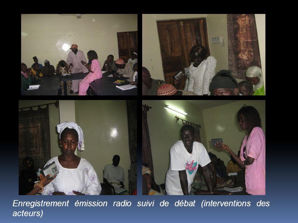 Enregistrement émission radio suivi de débat (interventions des acteurs)