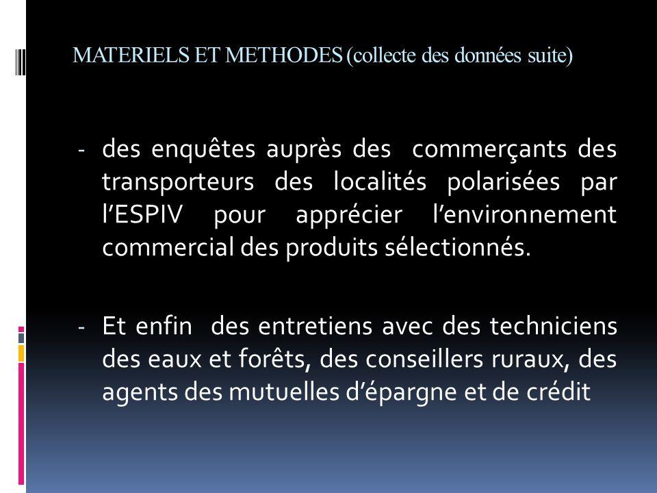 MATERIELS ET METHODES (collecte des données suite)