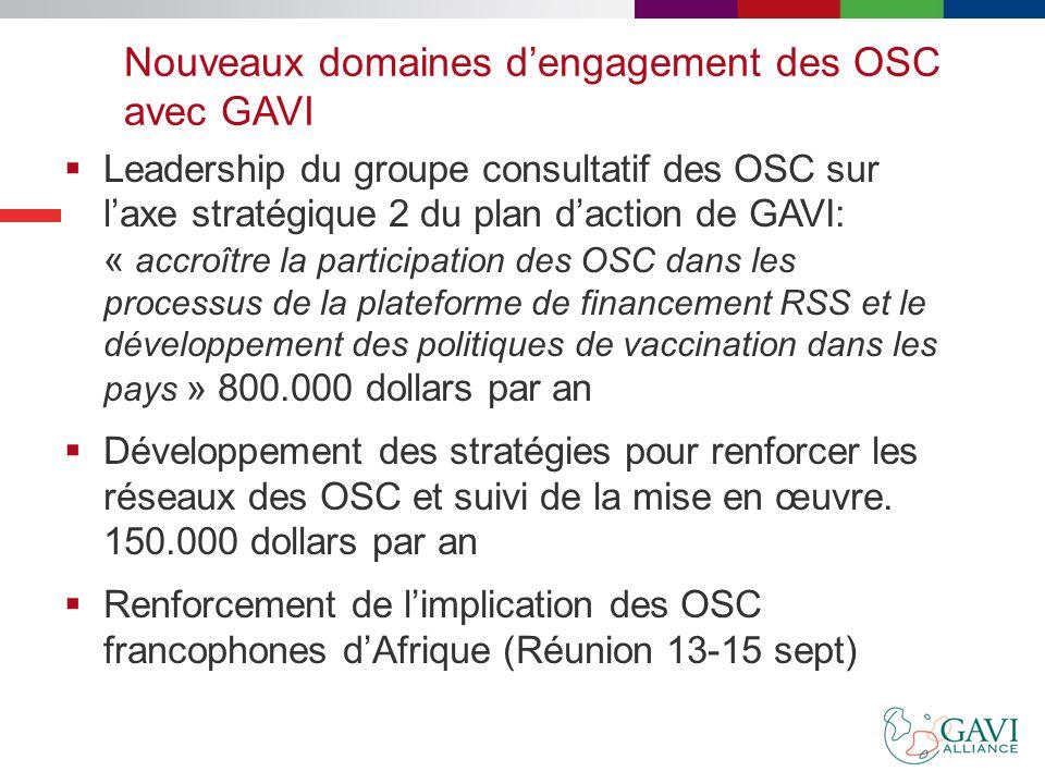 Nouveaux domaines d'engagement des OSC avec GAVI