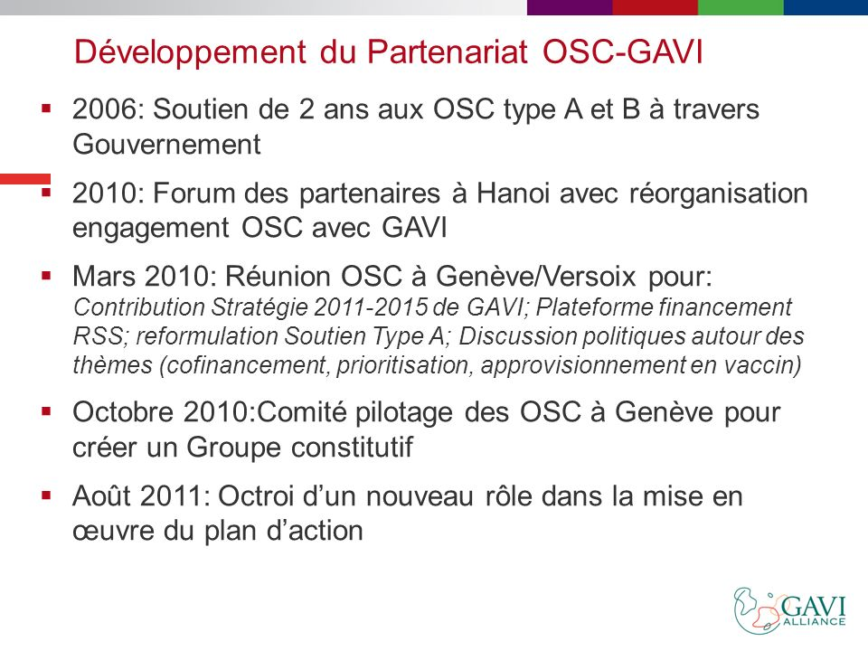 Développement du Partenariat OSC-GAVI