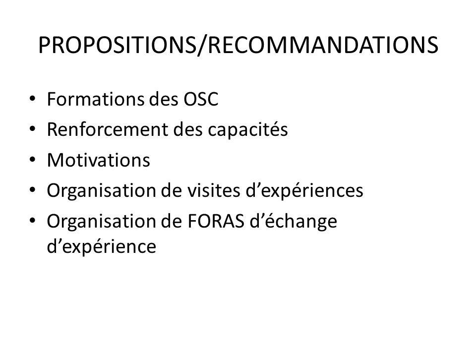 PROPOSITIONS/RECOMMANDATIONS