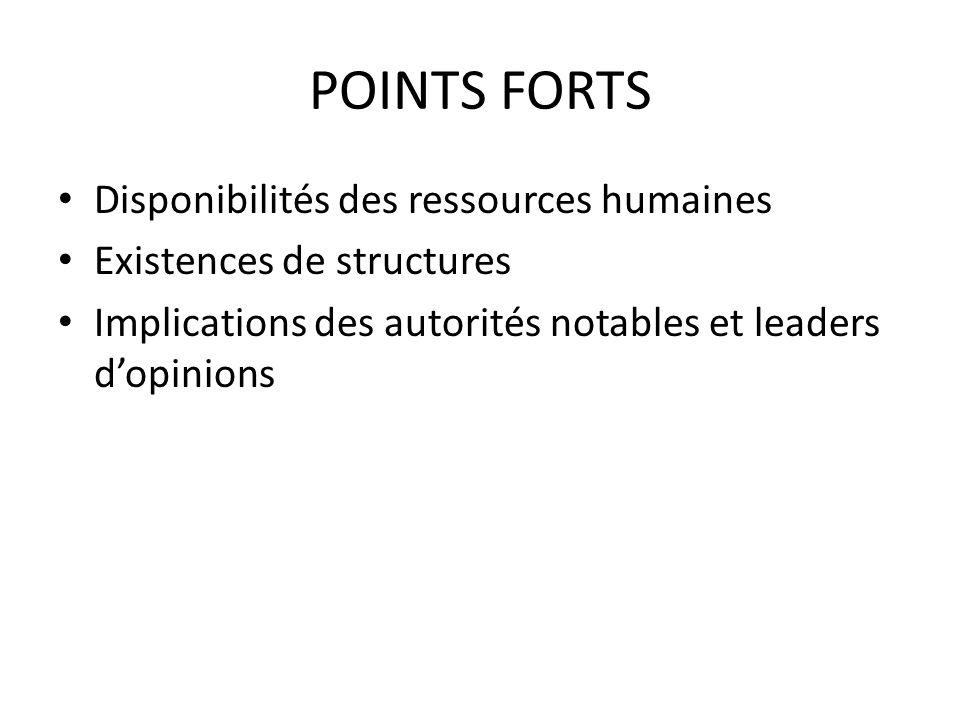 POINTS FORTS Disponibilités des ressources humaines