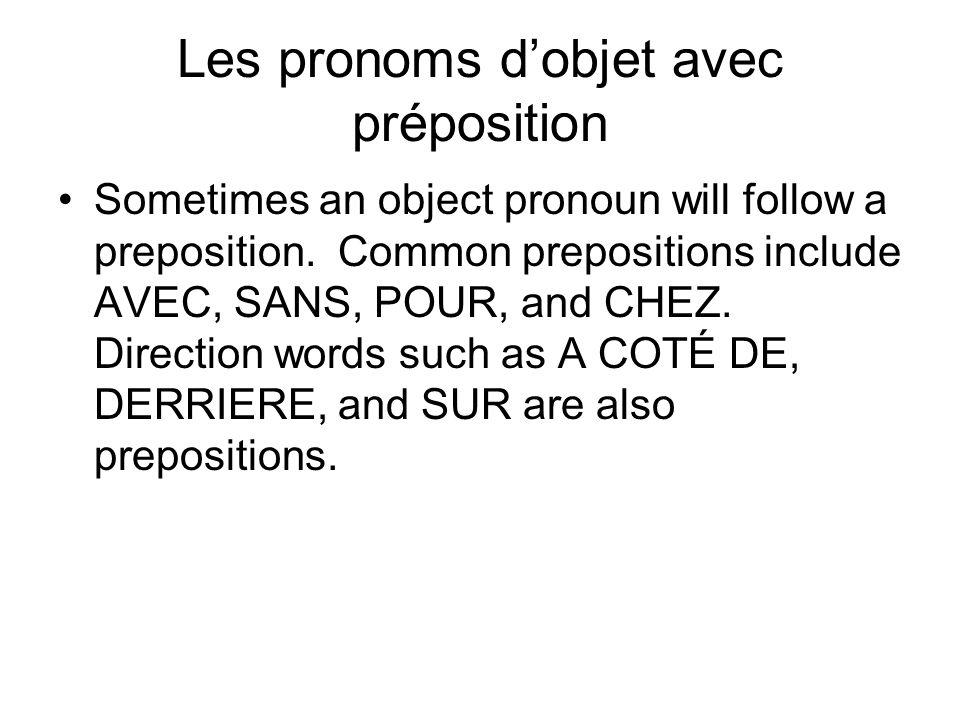 Les pronoms d'objet avec préposition