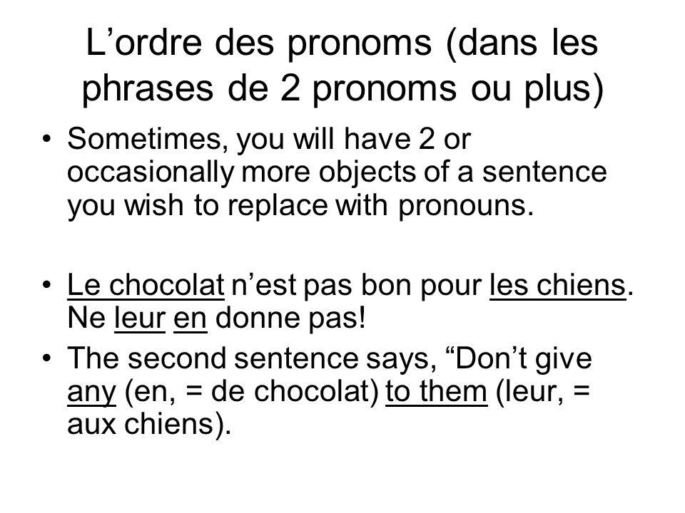 L'ordre des pronoms (dans les phrases de 2 pronoms ou plus)
