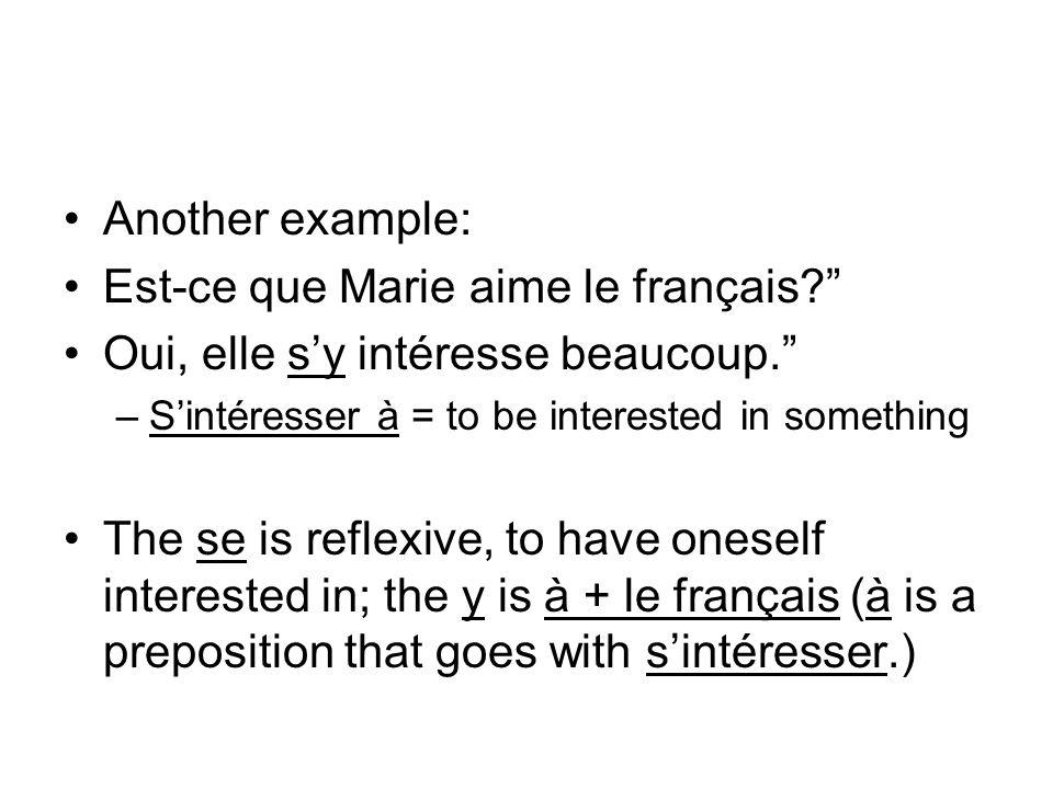 Est-ce que Marie aime le français Oui, elle s'y intéresse beaucoup.