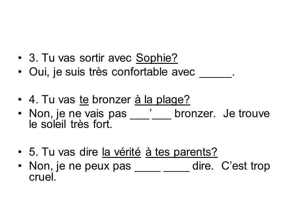 3. Tu vas sortir avec Sophie