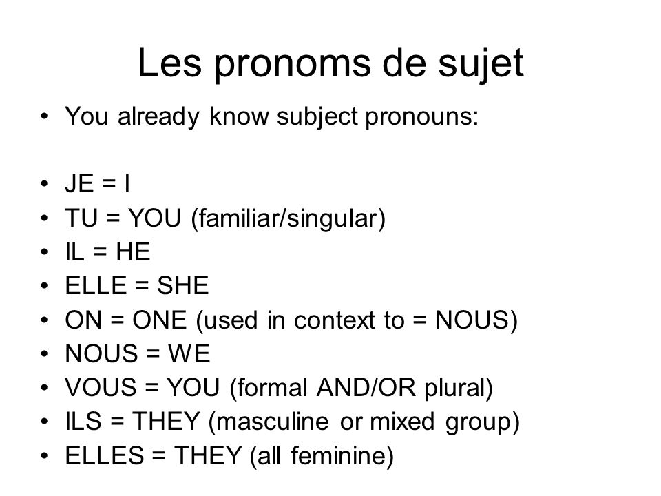 Les pronoms de sujet You already know subject pronouns: JE = I