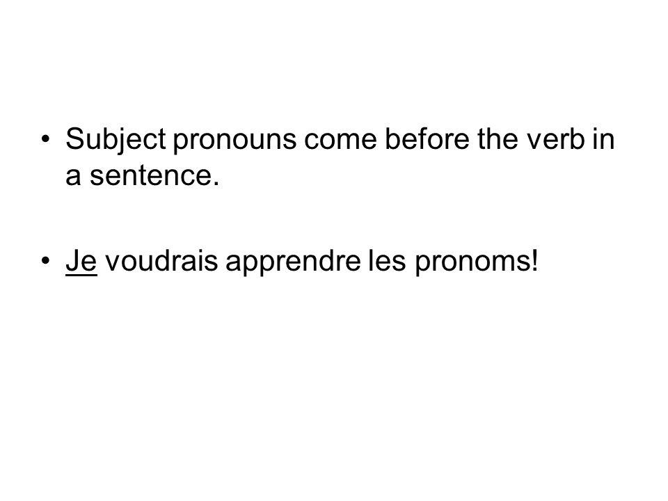 Subject pronouns come before the verb in a sentence.
