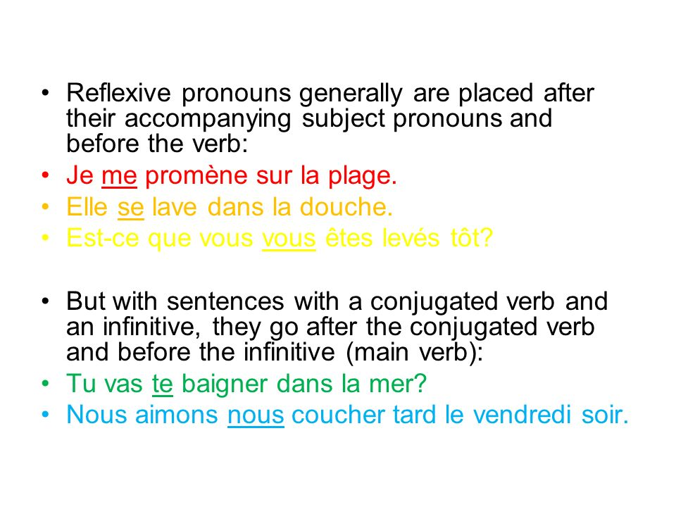 Reflexive pronouns generally are placed after their accompanying subject pronouns and before the verb: