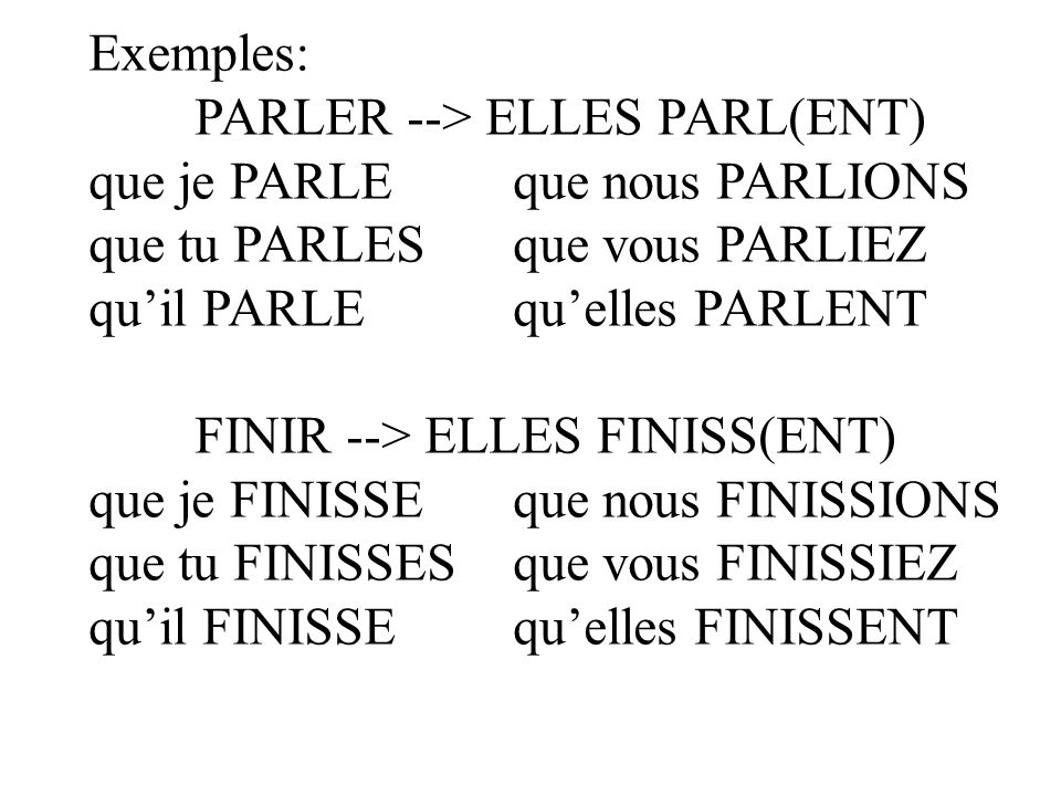 Exemples: PARLER --> ELLES PARL(ENT) que je PARLE que nous PARLIONS. que tu PARLES que vous PARLIEZ.