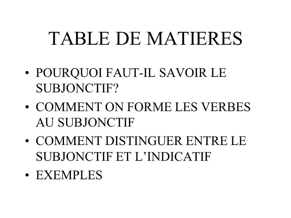 TABLE DE MATIERES POURQUOI FAUT-IL SAVOIR LE SUBJONCTIF