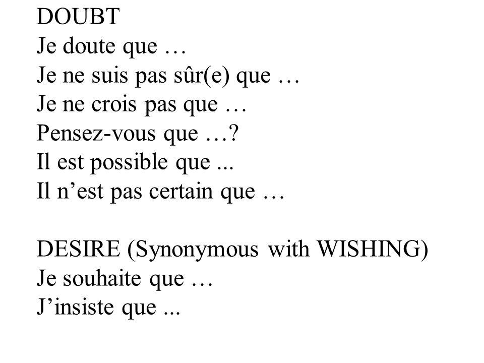 DOUBT Je doute que … Je ne suis pas sûr(e) que … Je ne crois pas que … Pensez-vous que … Il est possible que ...