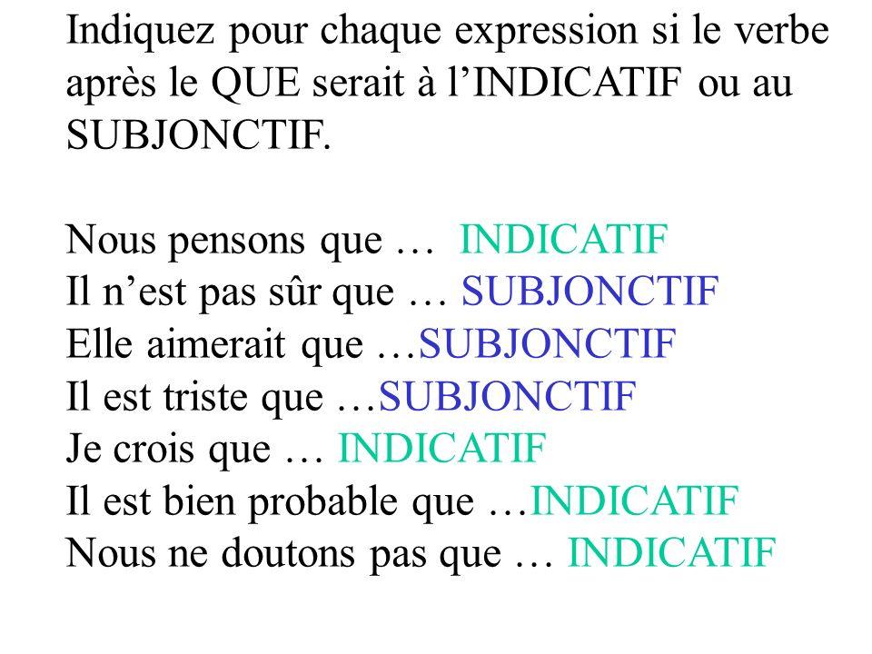Indiquez pour chaque expression si le verbe