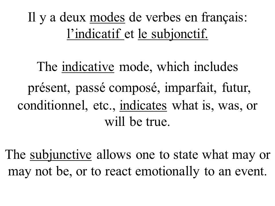Il y a deux modes de verbes en français: l'indicatif et le subjonctif.